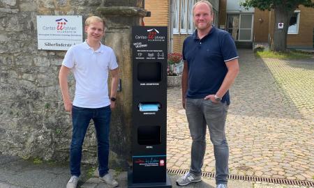 Hygiene-Stele in Caritas-Wohnen Hildesheim